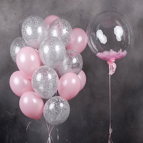 Композиция розовая с конфетти