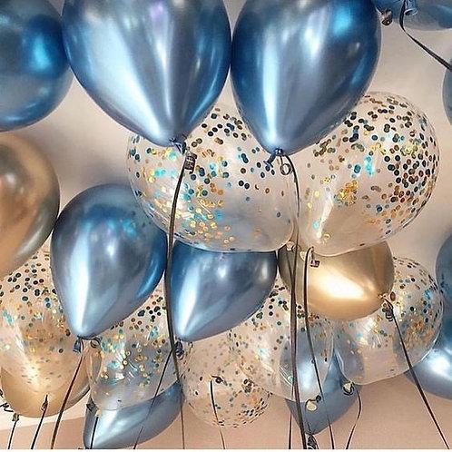 Шары синие хром, золото хром и шары с конфетти