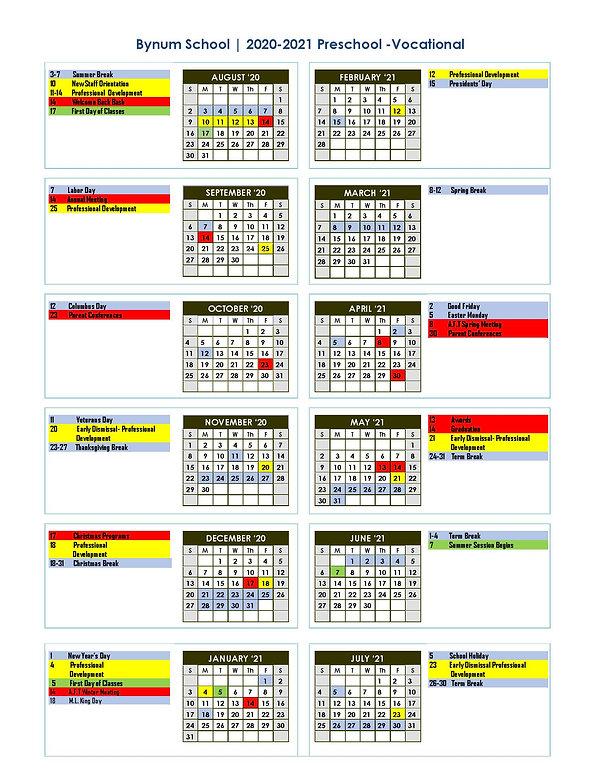20-21 Bynum School PK - Vocational calen