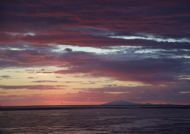 Sunset in Garður. View on Snæfellsjökull