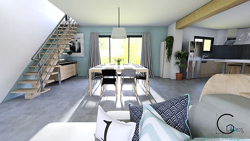 salon, bleu, décoration, cosy, 3D,