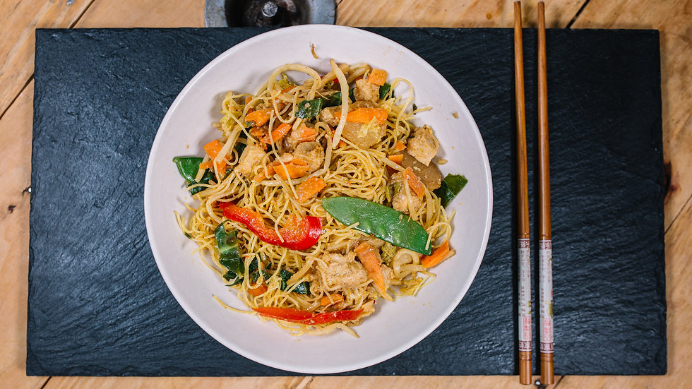 Vegan Plum Chicken & Singapore Noodles (Gluten Free)