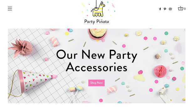 Kunst & Design website templates – Shop für Party-Zubehör