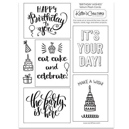 Birthday Wishes Vellum Flash Cards