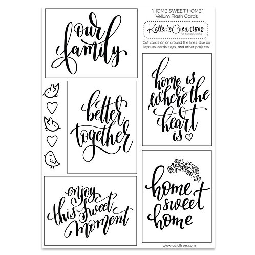 Home Sweet Home Vellum Flash Cards