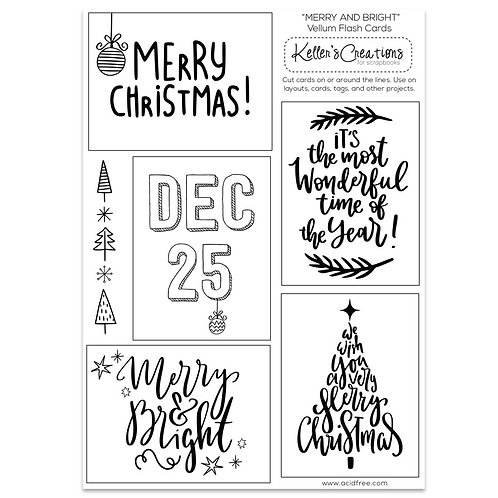 Merry and Bright Vellum Flash Cards