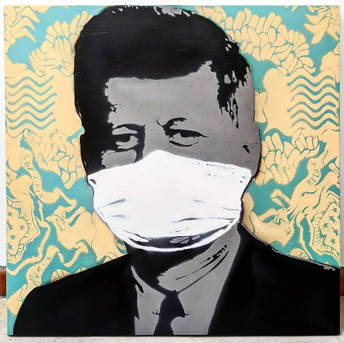 """""""Mask Not What Your Country Can Do For You"""", 36"""" x 36"""" (2020)"""