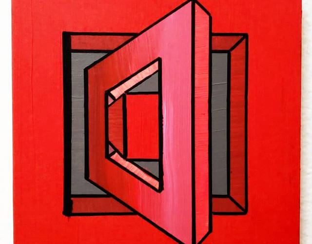 _Redrum_ - Acrylic on wood, 8_ × 8_ (201