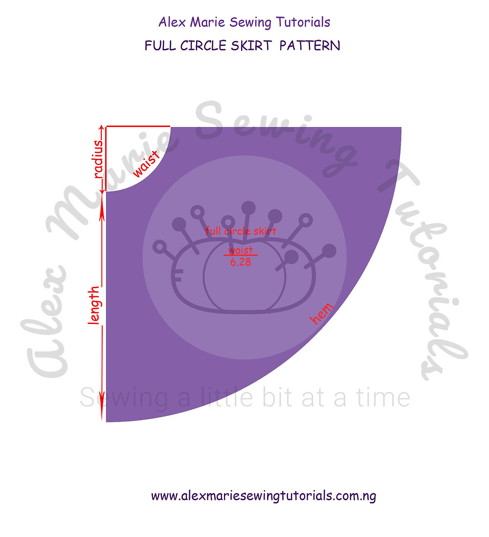 full circle skirt pattern detailed