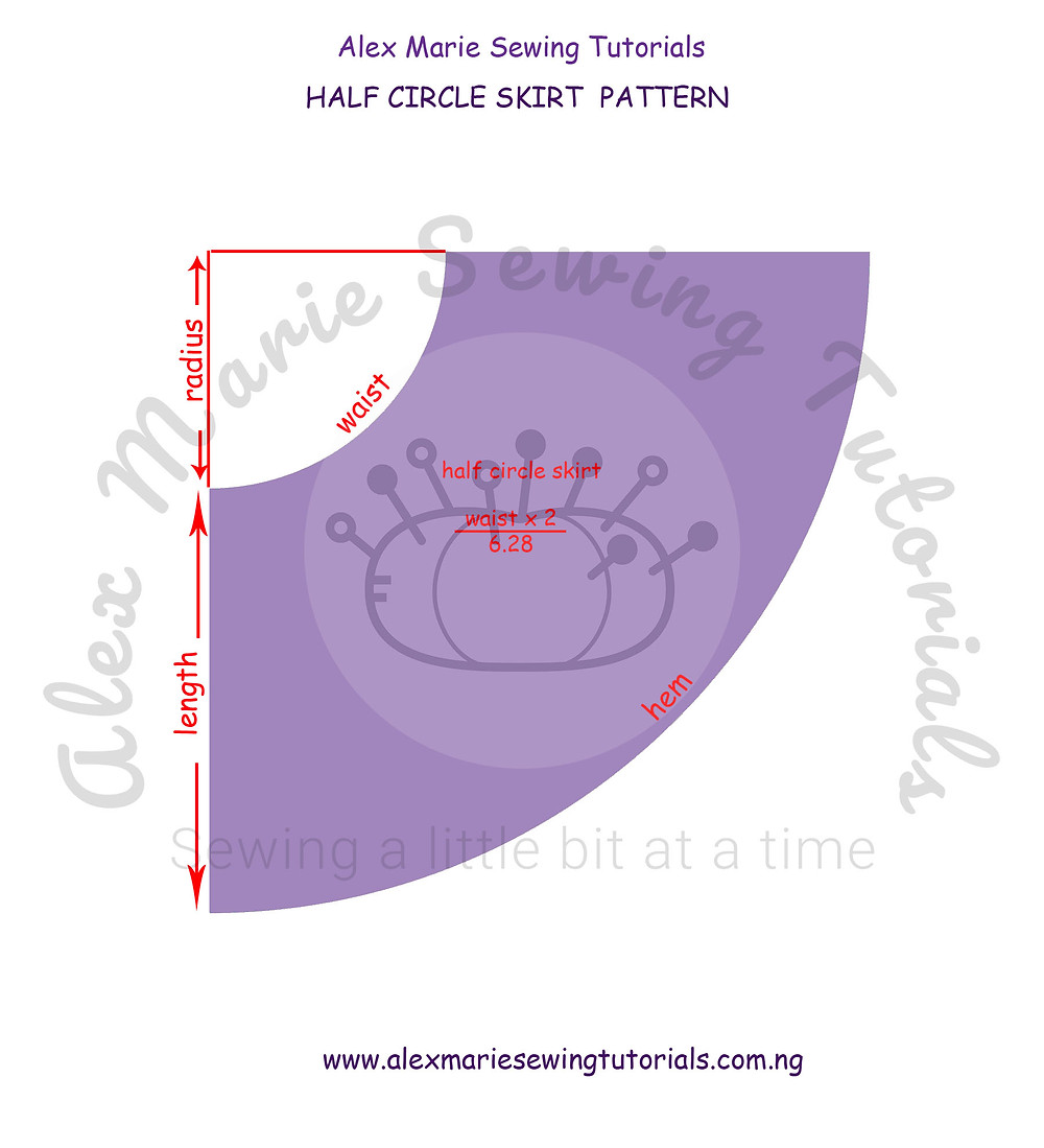 half circle skirt pattern detailed