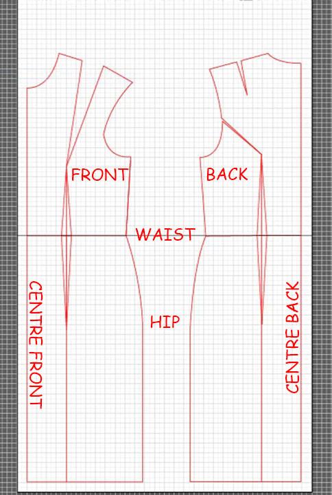 basic dress torso sloper pattern 15