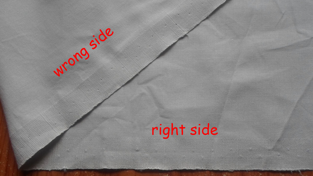 right and wrong side of fabric
