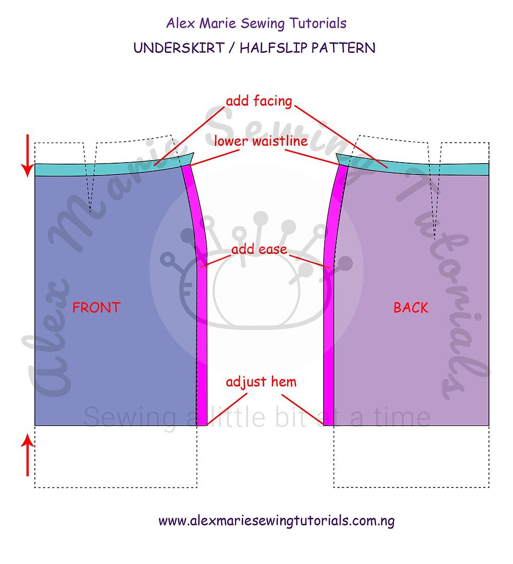 detailed underskirt halfslip pattern