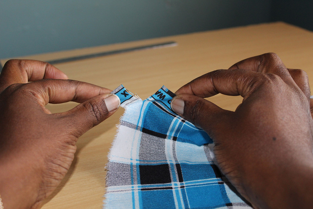 tearing fabric to make a straight edge