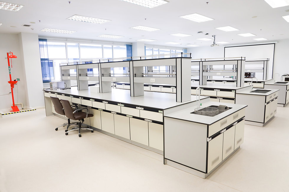 Empty clean laboratory with furniture in
