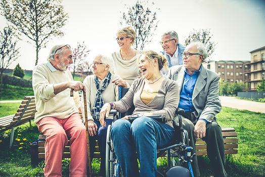 Group of senior people bonding outdoors