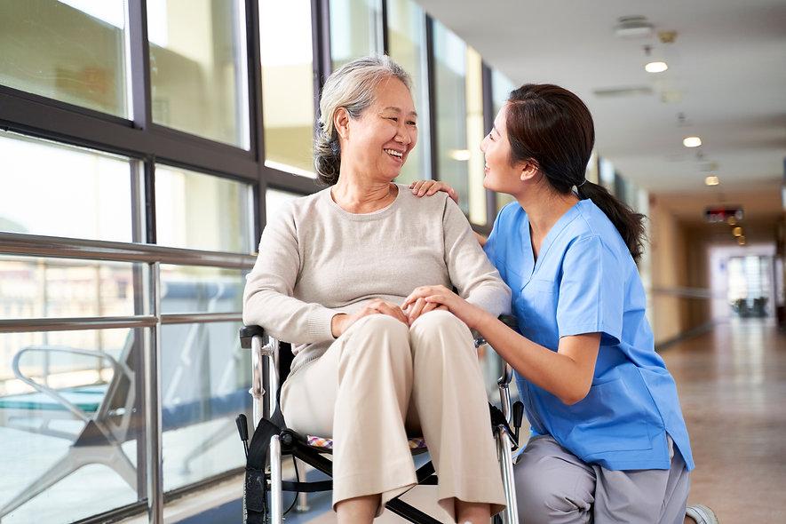 friendly staff caregiver of nursing home