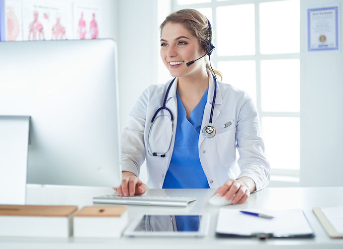 Young practitioner doctor working at the
