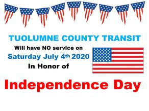 No Service-- Saturday July 4, 2020