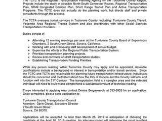 Notice of Vacancy-- Tuolumne County Transportation Council