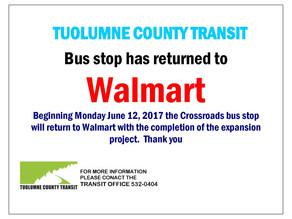 Notice!- Bus Stop returns to Walmart