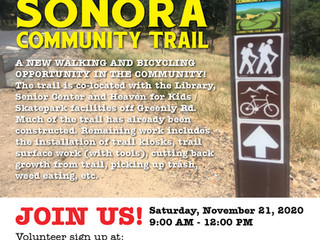 --CANCELLED--Volunteer Trail Work Day-- Sonora Community Trail, Saturday November 21, 9am-12pm