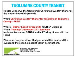 We Go There-- Christmas Eve Dinner, Tuesday December 24, 12pm-6pm