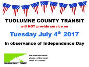 Notice!-- No Service on July 4