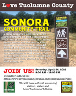 Sonora Community Trail--Volunteer Work party!  Saturday April 24th.  9am-12pm.  Family friendly.