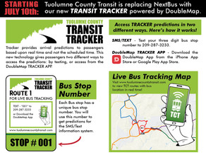 Starting on July 10th - The new Tuolumne County Transit Tracker