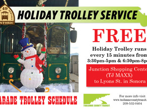 Trolley Service to Sonora Christmas Parade