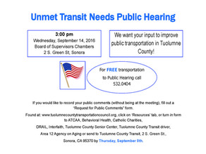 Public Hearing- Unmet Transit Needs