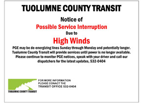 Possible service interruptions if power is lost.  Please continue to monitor for updates