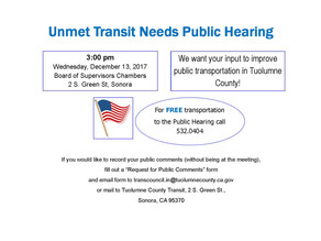 Unmet Transit Needs Public Hearing - December 13th