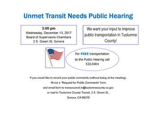 Unmet Transit Needs Public Hearing - December 13th