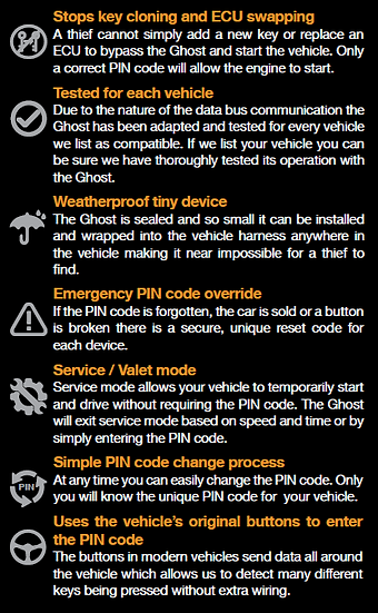 Ghost immobiliser features