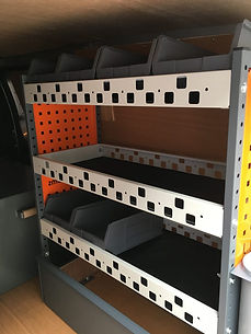 Metal shelving for vans