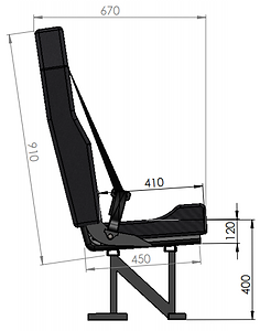 Crew seat dimensions