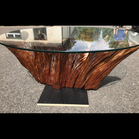 Buncrana Oak stump coffee table with glass table top
