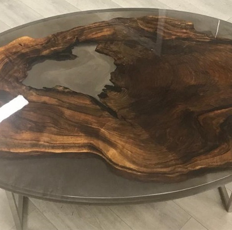 Black Walnut Coffee Table encased in smokey resin