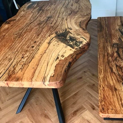 Spalted Beech Dining Table & Bench Set