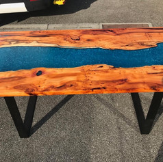 Handcrafted Yew River Dining Table in Poisedons Blue.