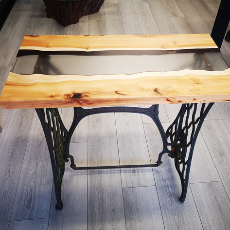 Yew Table Top with Clear Epoxy Centre