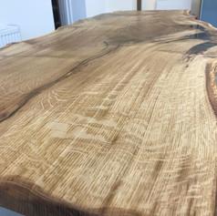 Live edge oak dining table.