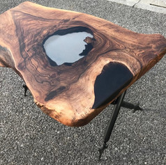 Walnut Coffee Table with clear resin 'Lough' feature in centre.