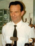 Behind the bar aboard the GLEN SANNOX as Chief Steward 1984