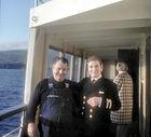 Onboard LOCHIEL 01 January 1970, Duncan Mackay (left) and Purser.
