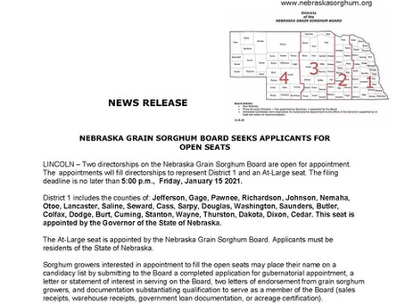 Nebraska Grain Sorghum Board Seeks New Board Appointments