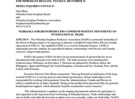 NEBRASKA SORGHUM PRODUCERS COMMEND POSITIVE MOVEMENTS ON INTERNATIONAL TRADE