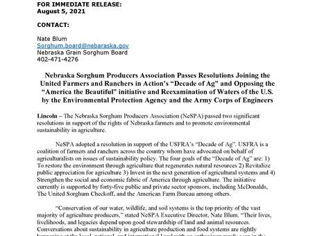 Nebraska Sorghum Producers Association Passes Important Sustainability Resolutions